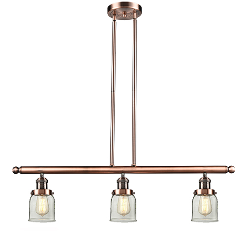 Innovations Lighting Small Bell Antique Copper Three-Light Island Pendant with Clear Bell Glass