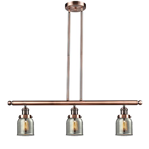 Innovations Lighting Small Bell Antique Copper Three-Light LED Island Pendant with Smoked Bell Glass