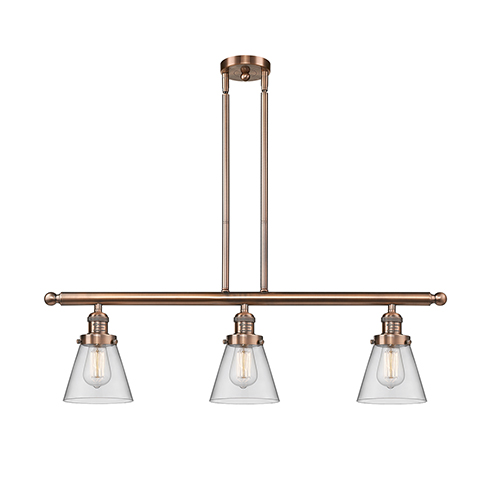 Innovations Lighting Small Cone Antique Copper Three-Light Island Pendant with Clear Cone Glass