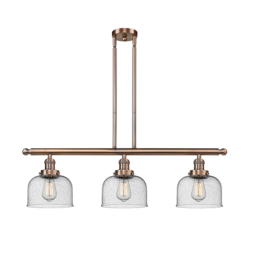 Innovations Lighting Large Bell Antique Copper Three-Light Island Pendant with Seedy Dome Glass