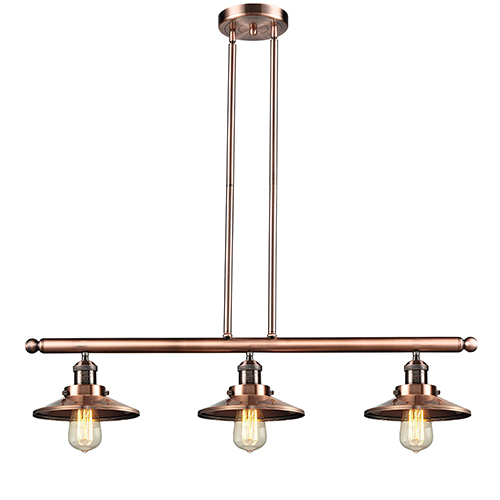Innovations Lighting Railroad Antique Copper Three-Light LED Island Pendant
