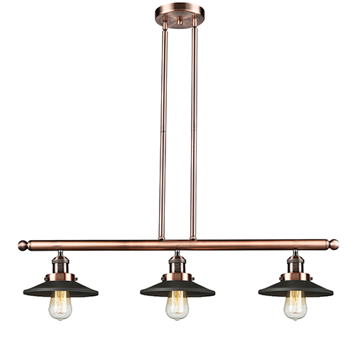 Innovations Lighting Railroad Antique Copper Three-Light Island Pendant with Matte Black Metal Shade