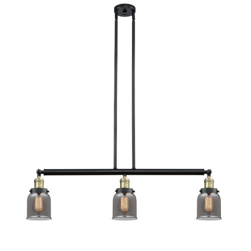 Innovations Lighting Small Bell Black Antique Brass Three-Light Island Pendant with Smoked Bell Glass