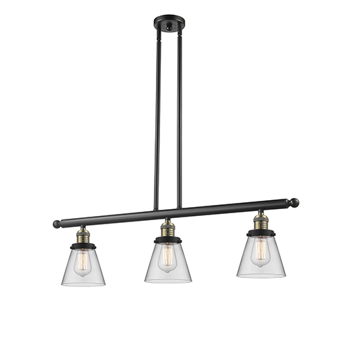 Innovations Lighting Small Cone Black Antique Brass Three-Light Island Pendant with Clear Cone Glass
