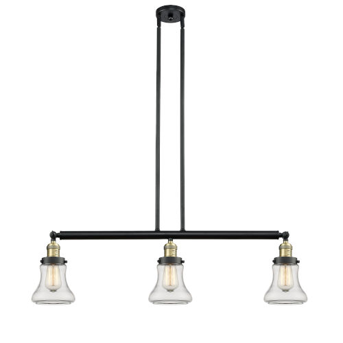 Bellmont Black Antique Brass Three-Light LED Island Pendant with Clear Glass
