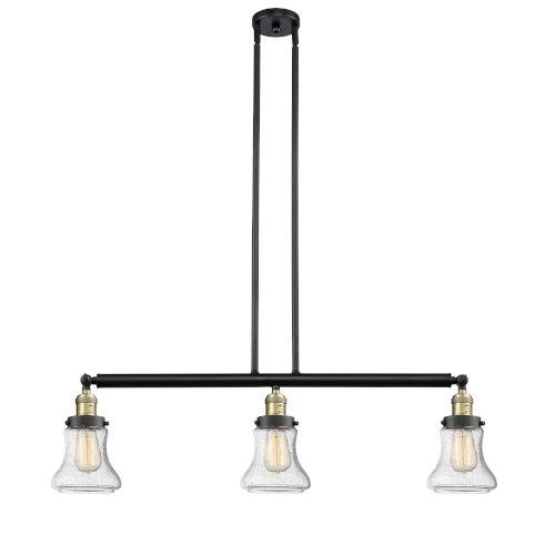 Bellmont Black Antique Brass Three-Light LED Adjustable Island Pendant with Seedy Glass