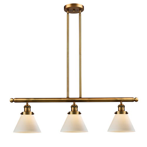 Large Cone Brushed Brass Three-Light Island Pendant with Matte White Cased Cone Glass