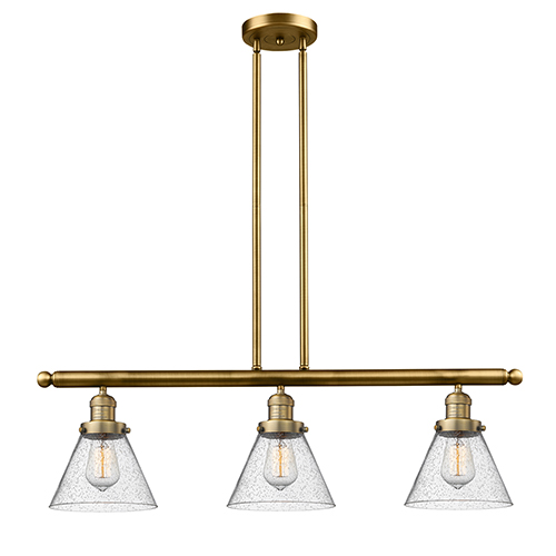 Large Cone Brushed Brass Three-Light Island Pendant with Seedy Cone Glass