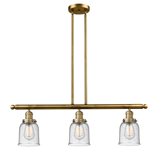 Innovations Lighting Small Bell Brushed Brass Three-Light LED Island Pendant with Seedy Bell Glass