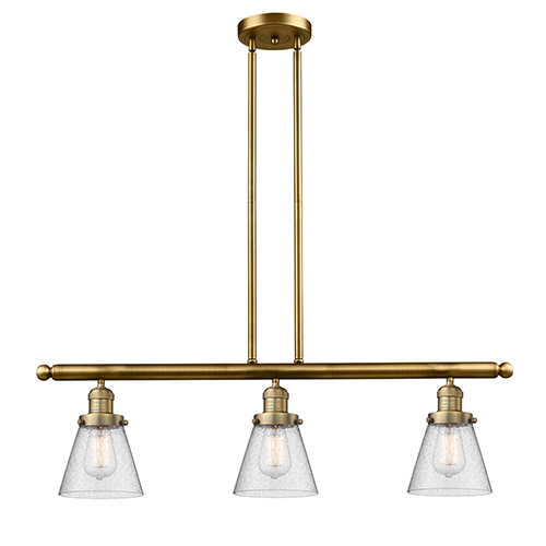 Innovations Lighting Small Cone Brushed Brass Three-Light Island Pendant with Seedy Cone Glass
