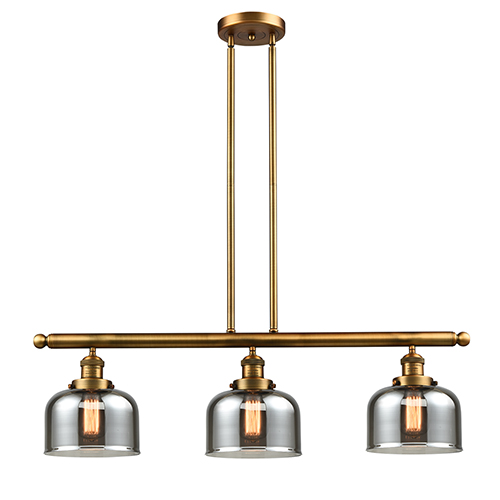 Innovations Lighting Large Bell Brushed Brass Three-Light LED Island Pendant with Smoked Dome Glass