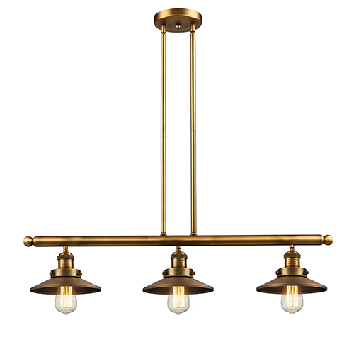Innovations Lighting Railroad Brushed Brass Three-Light LED Island Pendant