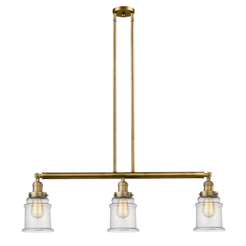 Canton Brushed Brass Three-Light Island Pendant with Seedy Glass