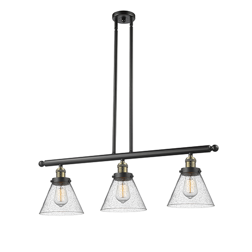 Large Cone Black Brushed Brass Three-Light LED Island Pendant with Seedy Cone Glass
