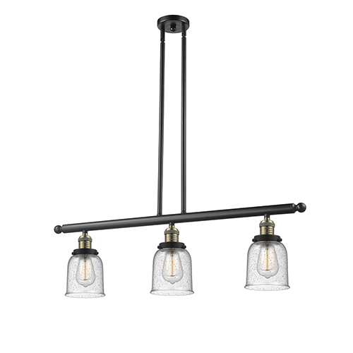 Innovations Lighting Small Bell Black Brushed Brass Three-Light Island Pendant with Seedy Bell Glass