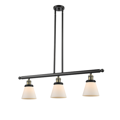Innovations Lighting Small Cone Black Brushed Brass Three-Light Island Pendant with Matte White Cased Cone Glass