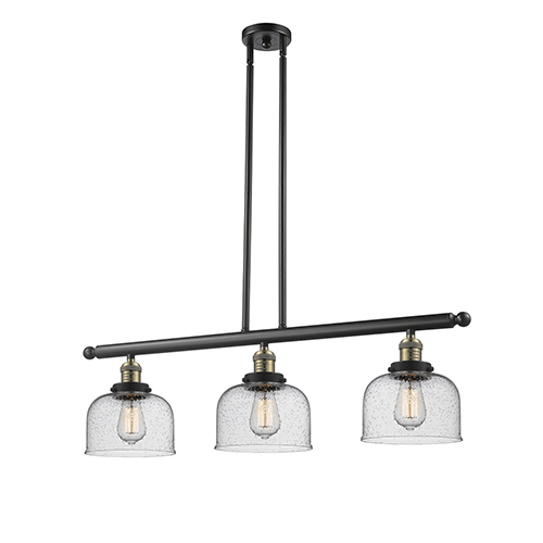Innovations Lighting Large Bell Black Brushed Brass Three-Light Island Pendant with Seedy Dome Glass