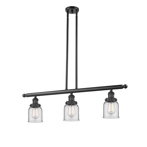Innovations Lighting Small Bell Black 36-Inch Three-Light LED Island Pendant with Clear Bell Glass