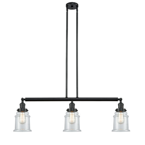 Canton Matte Black Three-Light LED Island Pendant with Clear Glass