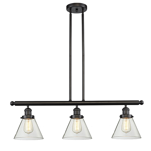 Innovations Lighting Large Cone Oiled Rubbed Bronze Three-Light Island Pendant with Clear Cone Glass
