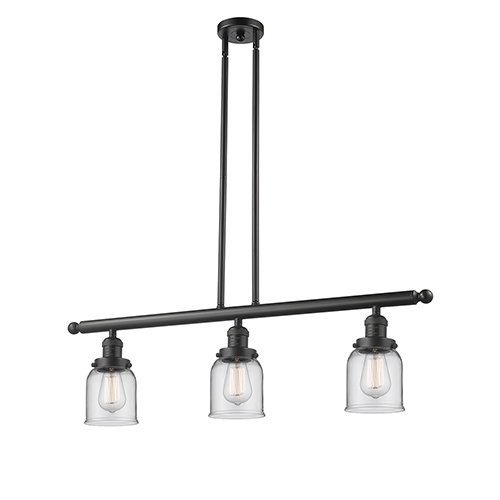Innovations Lighting Small Bell Oiled Rubbed Bronze Three-Light LED Island Pendant with Clear Bell Glass