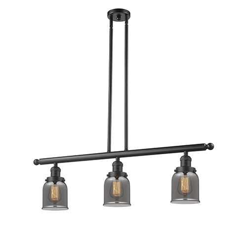 Innovations Lighting Small Bell Oiled Rubbed Bronze Three-Light LED Island Pendant with Smoked Bell Glass
