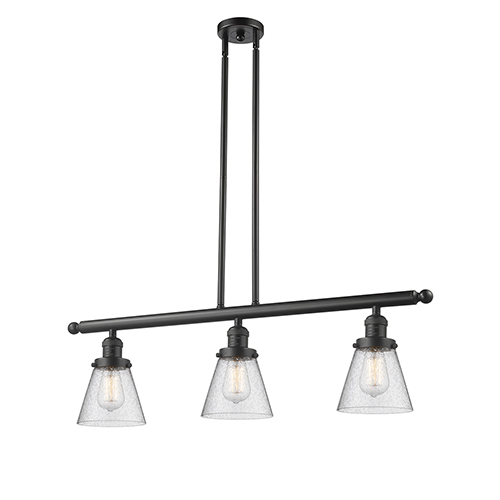 Innovations Lighting Small Cone Oiled Rubbed Bronze Three-Light LED Island Pendant with Seedy Cone Glass