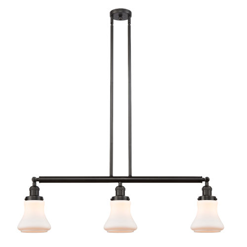 Bellmont Oil Rubbed Bronze Three-Light LED Adjustable Island Pendant with Matte White Glass