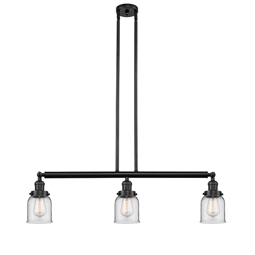 Innovations Lighting Small Bell Oiled Rubbed Bronze Three-Light Island Pendant with Clear Bell Glass