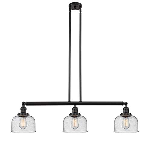 Innovations Lighting Large Bell Oiled Rubbed Bronze Three-Light Island Pendant with Seedy Dome Glass