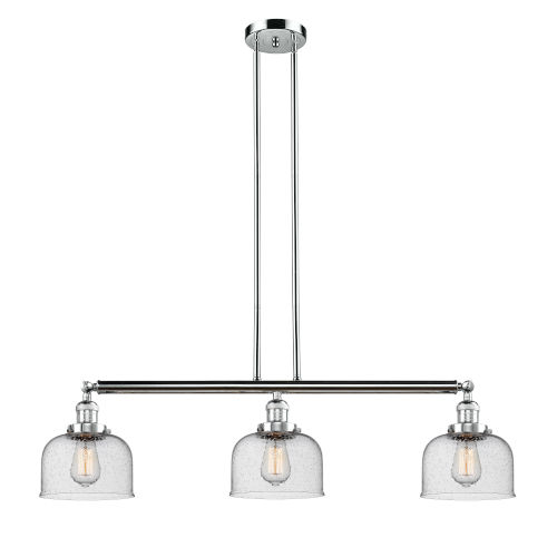 Large Bell Polished Chrome Three-Light Island Pendant