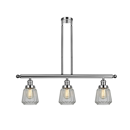 Chatham Polished Nickel Three-Light Island Pendant with Clear Fluted Novelty Glass