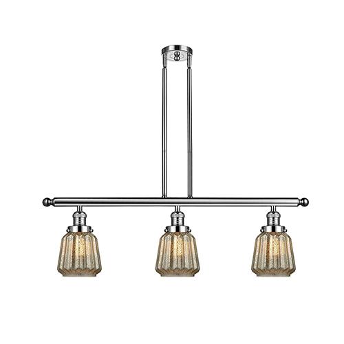 Innovations Lighting Chatham Polished Nickel Three-Light Island Pendant with Mercury Fluted Novelty Glass