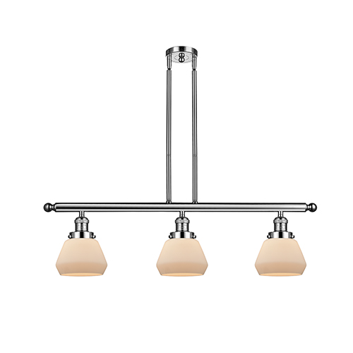 Fulton Polished Nickel Three-Light LED Island Pendant with Matte White Cased Sphere Glass