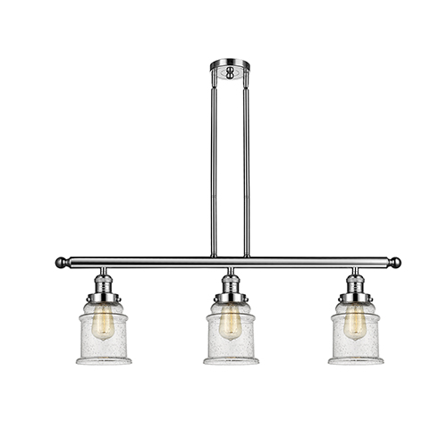 Innovations Lighting Canton Polished Nickel Three-Light LED Island Pendant with Seedy Bell Glass