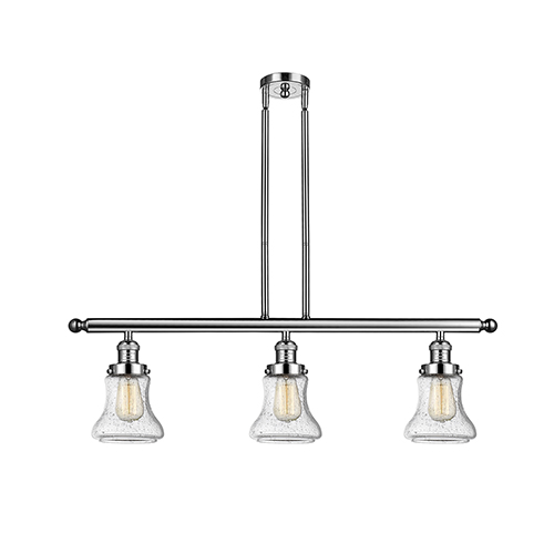 Innovations Lighting Bellmont Polished Nickel Three-Light Island Pendant with Seedy Hourglass Glass