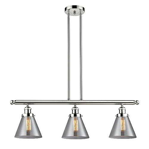Large Cone Polished Nickel Three-Light Island Pendant with Smoked Cone Glass