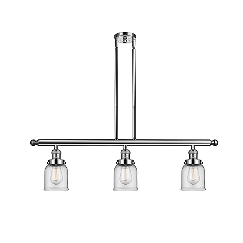 Innovations Lighting Small Bell Polished Nickel Three-Light Island Pendant with Clear Bell Glass