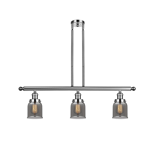 Innovations Lighting Small Bell Polished Nickel Three-Light Island Pendant with Smoked Bell Glass