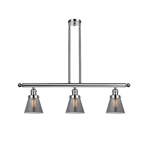 Innovations Lighting Small Cone Polished Nickel Three-Light LED Island Pendant with Smoked Cone Glass