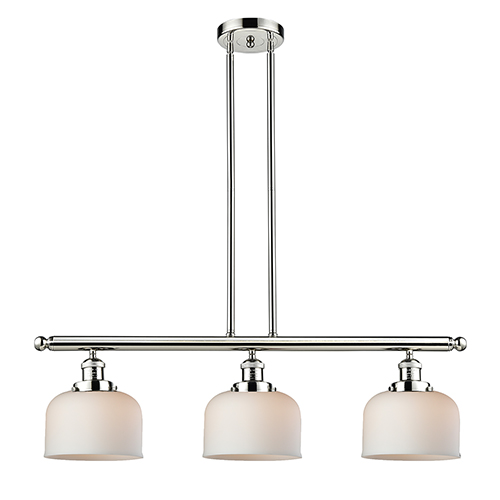 Innovations Lighting Large Bell Polished Nickel Three-Light LED Island Pendant with Matte White Cased Dome Glass