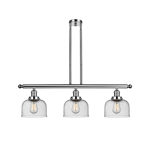 Large Bell Polished Nickel Three-Light Island Pendant with Seedy Dome Glass