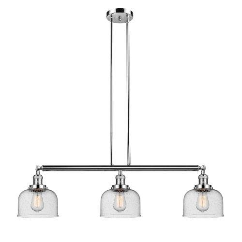 Large Bell Polished Nickel Three-Light LED Island Pendant