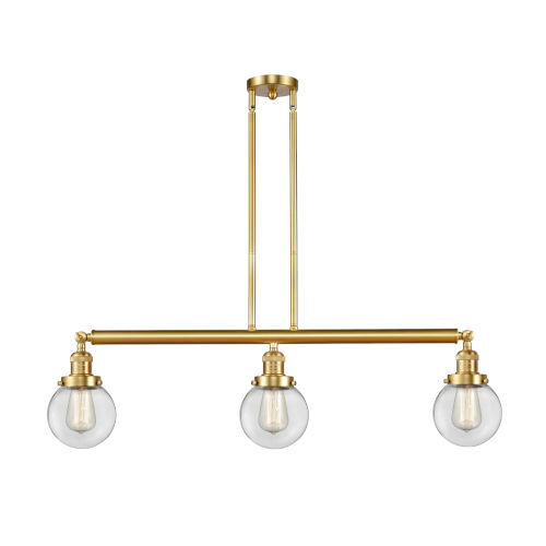 Franklin Restoration Satin Gold 39-Inch Three-Light LED Island Chandelier with Clear Glass Shade
