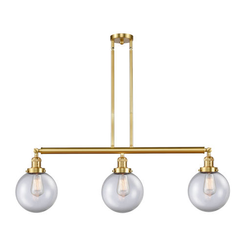 Franklin Restoration Satin Gold 41-Inch Three-Light Island Chandelier with Clear Glass Shade