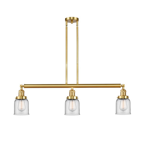 Franklin Restoration Satin Gold 38-Inch Three-Light LED Island Chandelier with Clear Glass Shade