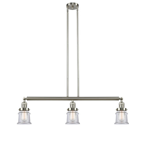 Franklin Restoration Brushed Satin Nickel 39-Inch Three-Light LED Island Chandelier with Clear Canton Shade and Wire