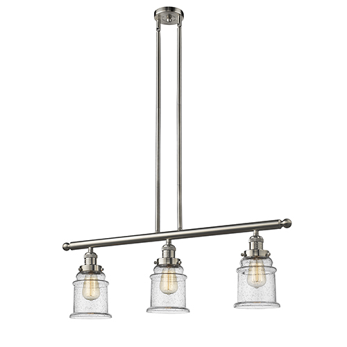 Innovations Lighting Canton Brushed Satin Nickel Three-Light LED Island Pendant with Seedy Bell Glass