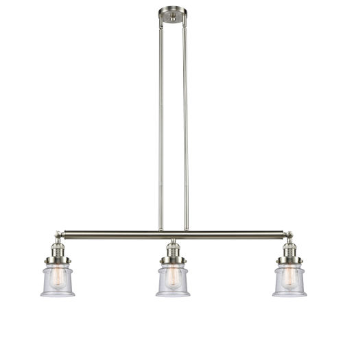 Franklin Restoration Brushed Satin Nickel 39-Inch Three-Light Island Chandelier with Seedy Canton Shade and Wire