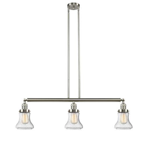 Bellmont Brushed Satin Nickel Three-Light LED Adjustable Island Pendant with Seedy Glass